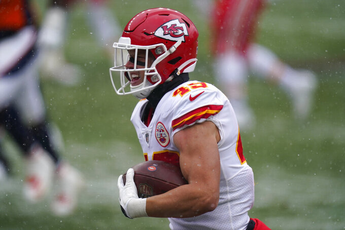 Kansas City Chiefs free safety Daniel Sorensen runs for a touchdown after an interception during the first half of an NFL football game against the Denver Broncos, Sunday, Oct. 25, 2020, in Denver. (AP Photo/Jack Dempsey)