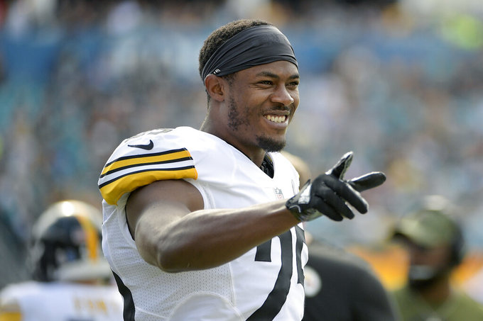 FILE - In this Sunday, Nov. 18, 2018 file photo, Pittsburgh Steelers cornerback Artie Burns reacts on the sideline after a play during the first half of an NFL football game against the Jacksonville Jaguars in Jacksonville, Fla. The Chicago Bears and cornerback Artie Burns agreed to a one-year contract, agent Drew Rosenhaus said on Saturday, March 21, 2020.(AP Photo/Phelan M. Ebenhack, File)